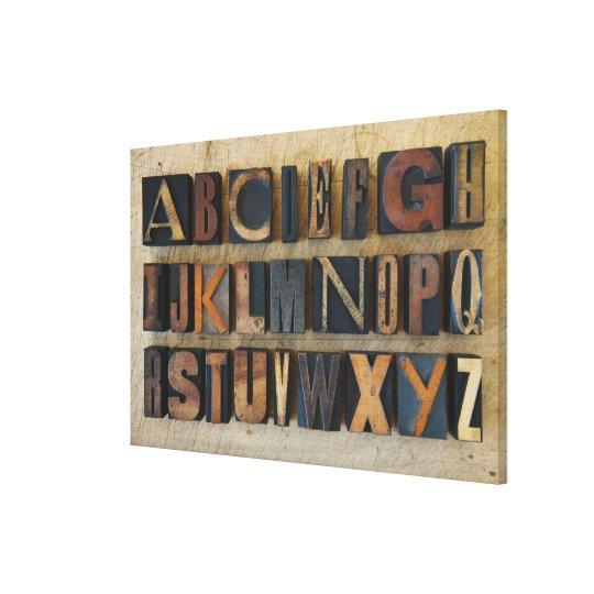 Close up of alphabet on letterpress 2 canvas print