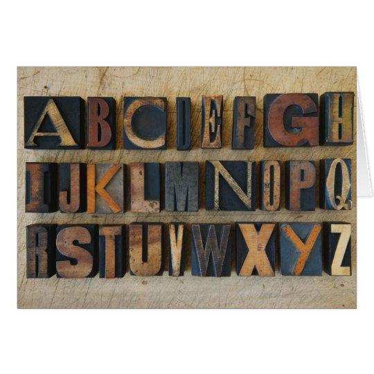 Close up of alphabet on letterpress 2 card