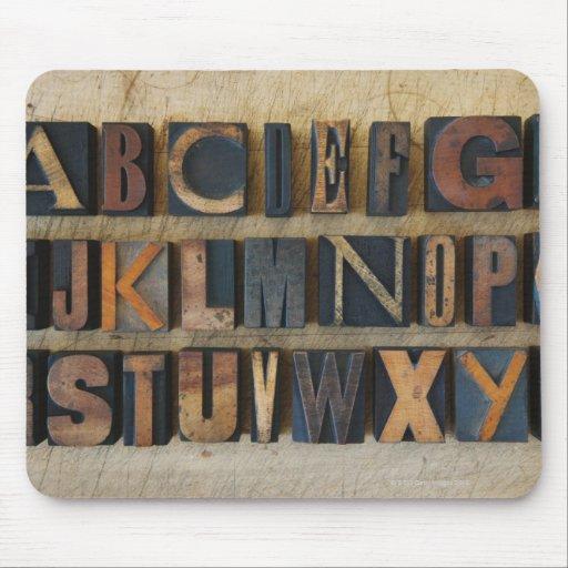 Close up of alphabet on letterpress 2 mouse pad