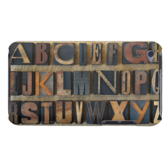 Close up of alphabet on letterpress barely there iPod covers