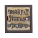 Close up of alphabet on letterpress keepsake box