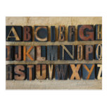 Close up of alphabet on letterpress post card