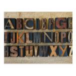 Close up of alphabet on letterpress post card