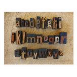 Close up of alphabet on letterpress postcard