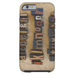Close up of alphabet on letterpress tough iPhone 6 case
