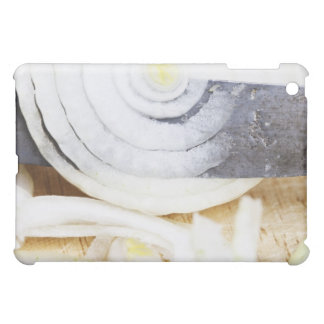 close-up of an onion, being cut into slices iPad mini covers