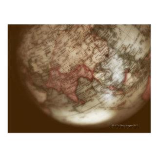 Close up of antique globe 2 postcard