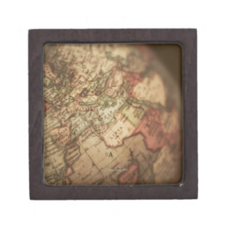 Close-up of antique globe 3 keepsake box