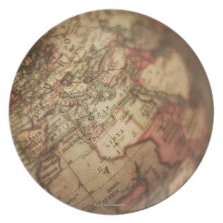 Close-up of antique globe 3 party plate