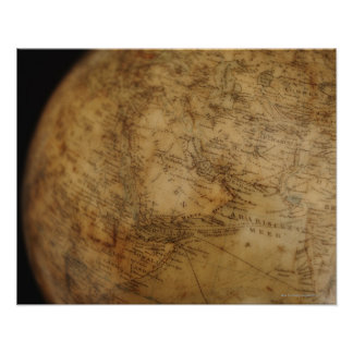 Close up of antique globe 3 poster