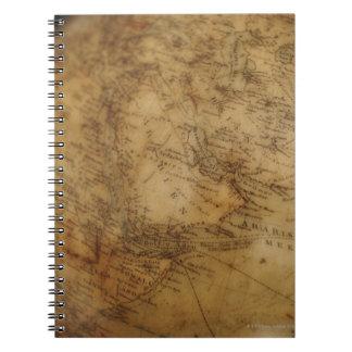 Close up of antique globe 3 spiral notebook