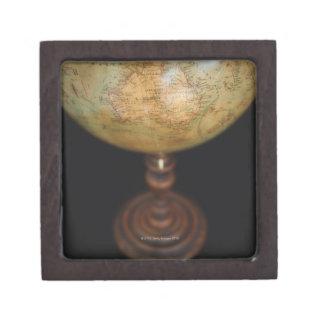 Close-up of antique globe jewelry box
