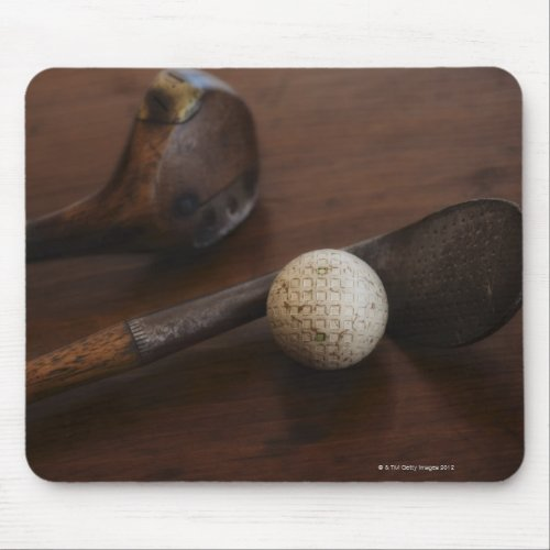 Antique golf clubs & golf ball mouse pad