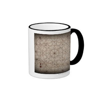 Close up of antique map mugs