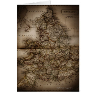 Close up of antique map of England Card