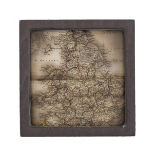 Close up of antique map of England Jewelry Box