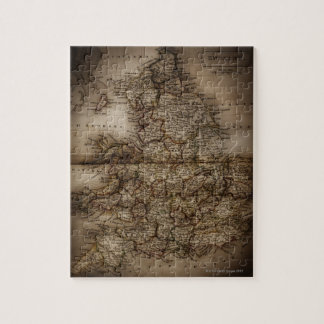 Close up of antique map of England Jigsaw Puzzle