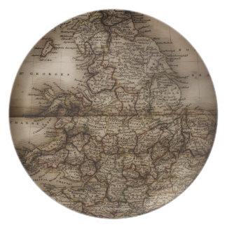 Close up of antique map of England Melamine Plate