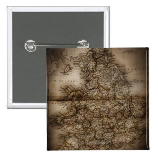 Close up of antique map of England Pinback Button