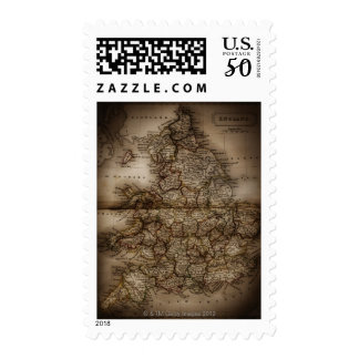 Close up of antique map of England Postage