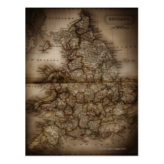 Close up of antique map of England Postcard