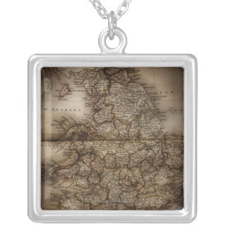 Close up of antique map of England Silver Plated Necklace