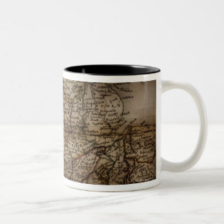 Close up of antique map of England Two-Tone Coffee Mug
