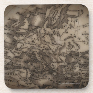 Close up of antique map of Europe Drink Coasters