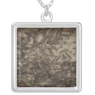 Close up of antique map of Europe Personalized Necklace