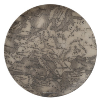 Close up of antique map of Europe Plates