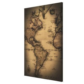 Close up of antique world map 2 canvas prints
