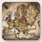 Close up of antique world map 2 drink coaster