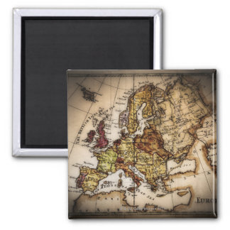Close up of antique world map 2 refrigerator magnets