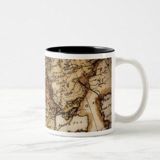 Close up of antique world map 2 mugs
