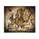Close up of antique world map 2 postcard