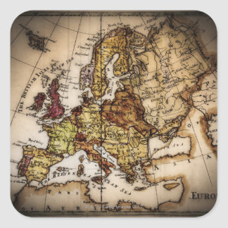 Close up of antique world map 2 square sticker