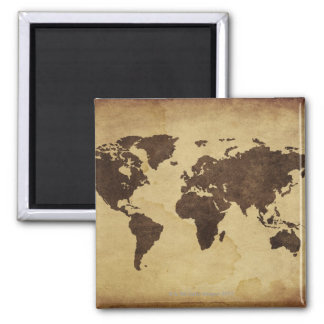 Close up of antique world map 3 2 inch square magnet