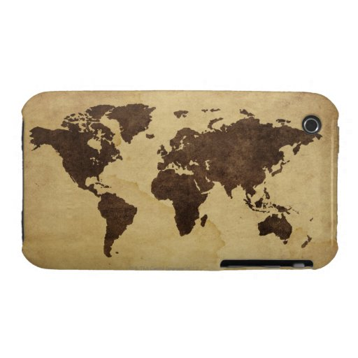 Close up of antique world map 3 iPhone 3 cover