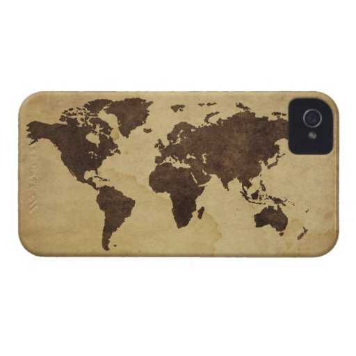 Close up of antique world map 3 iPhone 4 cases