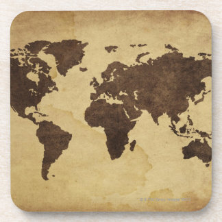 Close up of antique world map 3 coaster