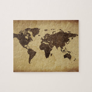 Antique map of the world jigsaw puzzles zazzle close up of antique world map 3 jigsaw puzzle gumiabroncs