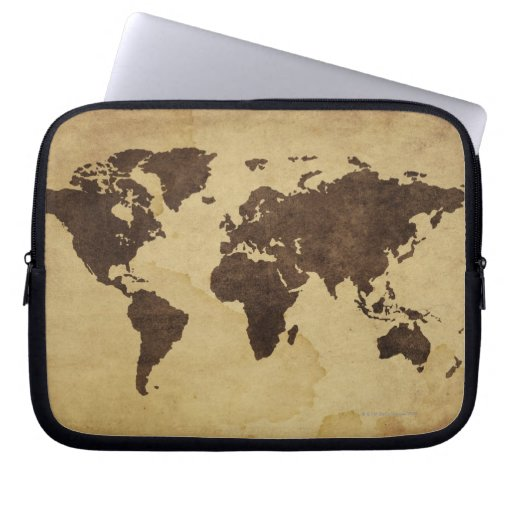 Close up of antique world map 3 laptop computer sleeves