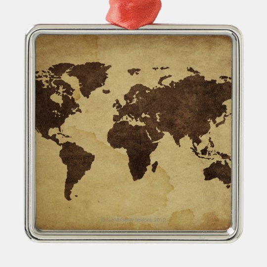 Close up of antique world map 3 metal ornament