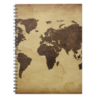 Close up of antique world map 3 notebook