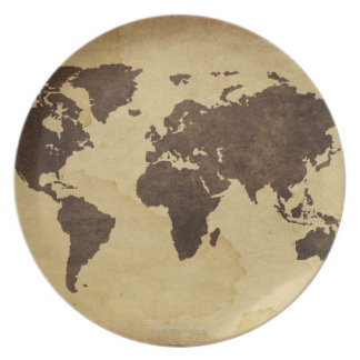 Close up of antique world map 3 dinner plate
