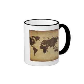 Close up of antique world map 3 ringer coffee mug