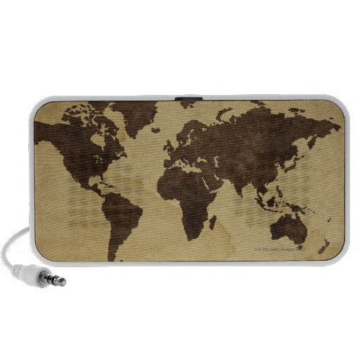 Close up of antique world map 3 travelling speaker