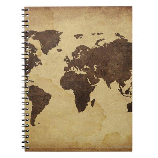 Close up of antique world map 3 spiral notebook