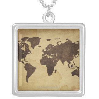 Close up of antique world map 3 square pendant necklace