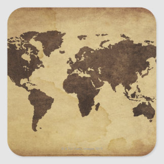 Close up of antique world map 3 square stickers